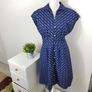 Brooks Brothers Blue Nautical Shirt Dress Size 8